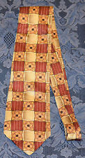 MULBERRY Red/Gold Geometric MEN'S NECK TIE 100% Silk, !!! FREE SHIPPING !!!