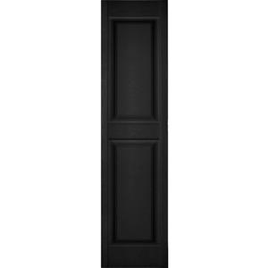 Raised Panel Shutters Pair 12 in. W x 47 in. H Paintable Water Resistant Black