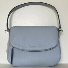 New Kate Spade Jackson Medium Flap Shoulder bag Leather handbag Frost Blue