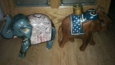 Set 2 wood painted Carved elephant figurines Trunk Up for luck one candle holder