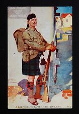 WW1 Postcard Scottish Soldier Rifle Fixed Bayonet High St Newport Pagnell Bucks