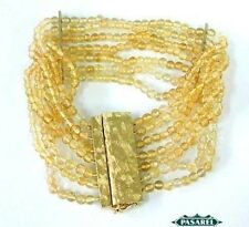 New 14k Yellow Gold Citrine Designer Beaded Bracelet