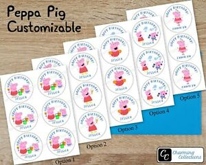 Peppa Pig Stickers Custom Name Happy Birthday Party - Size & Design Options
