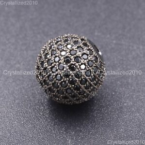 Zircon Gemstones Pave Round Ball Bracelet Connector Charm Beads Silver Gold Rose