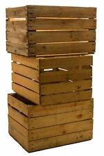 3 Pièce Solide Boîtes de Pommes Cageot à Fruits Bois Caisse la Vieux Pays