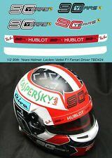 1/2  90 th  Years  Logo X Helmet  Leclerc 2019 F1 Ferrari Decals TB Decal TBD424