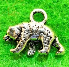 50Pcs. WHOLESALE Tibetan Silver 3D BEAR Animal Charms Pendants Ear Drops Q1185
