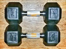 Cap 20 LB Rubber Hex Dumbbells Weights Set of 2 - FAST SHIPPING