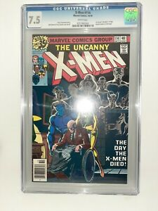 Marvel Uncanny X-Men #114 Cgc 7.5 White Pages 1st Use Uncanny in Logo Case Mint