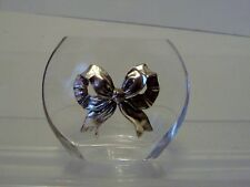 Vintage Glass Vase With Silver Bow-g27