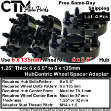 """4P 1.25""""THICK 6x5.5 to 6x135 HUBCENTRIC WHEEL ADAPTERS SPACER FIT CHEVY CADILLAC"""