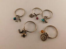 STERLING SILVER CHARM RINGS SET OF 5 TURQUOISE AMBER SUN MOON STARS HEART