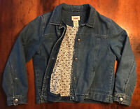 Vintage Rare Women's LL Bean Flower Flannel Lined Jean Blue Denim Jacket Large L