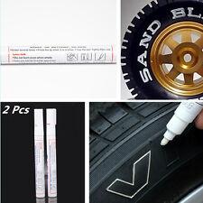 2Pcs AUTO White Waterproof Oil Based Pen Paint Marker Tire Wheel Tread Rubber