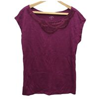 NWT Ann Taylor LOFT Knit Tee Top Womens M Purple Cap Sleeve Boat Neck Cotton