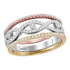 10K TRI-TONE GOLD ROUND DIAMOND STACKABLE ROPE BAND RING 3-PIECE SET 1/3 CTTW