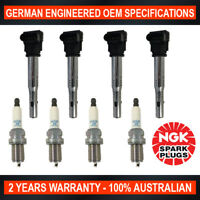 4x Genuine NGK Platinum Spark Plugs & 4x Ignition Coils for Skoda Octavia Superb