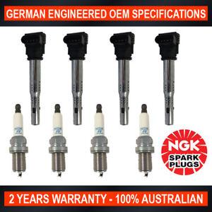 4x NGK Spark Plugs & Swan Ignition Coils for Volkswagen Golf Passat Jetta Tiguan