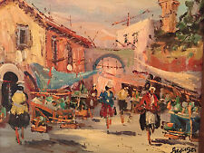 Georges Signed Framed Beautiful Impressionist Bazaar Marketplace Priced to $ell