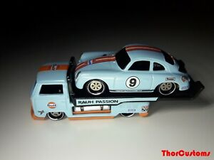 Hot Wheels Volkswagen T2 Pickup with Porsche 356 Outlaw Gulf custom