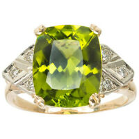 4ct Cushion Green Peridot Diamond Cocktail Engagement Ring 14k Yellow Gold Over