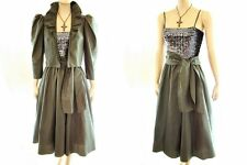 VTG 70s Silver SEQUIN Tube Top Short Ruffle Jacket Party Dress Suit OUTFIT S