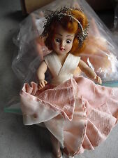 """Vintage 1950s Plastic Girl in Pink Outfit Character Doll 7"""" Tall"""