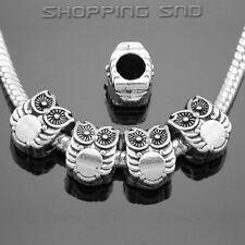 30pcs Tibetan Silver Tone Spacer Beads Fit European Charms Bracelet Owl Daisy