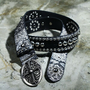 ByTheR Men's Python Skin Faux Leather Fabric Made Cross Decorated Custom Belt