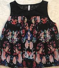 Junior's XHILARATION Black Lace Pleated Multi-Color Floral Print Tank Top Medium