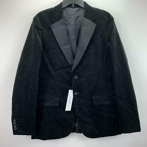Calvin Klein Mens Slim Fit Velvet Sport Coat Blazer Black L