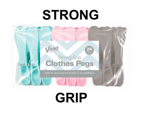 24x Strong Grip Pegs Heavy Duty Plastic Clothes Laundry Washing Line Airer Dryer