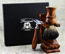 Pure Wood 3 Piece Men's Shaving Set With Badger Hair, DE Safety Razor & Stand