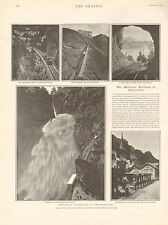 1901 ANTIQUE PRINT - THE MOUNTAIN RAILWAYS OF SWITZERLAND, 2 SIDES ON 2 PAGES