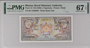 Bhutan 2 Ngultrum ND 1986 P 13 Superb GEM UNC PMG 67 EPQ