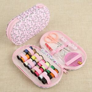 Sewing Kit Pink Storage Case 6.02*3.15*0.98in Needles Scissors 16pcs Thread tool