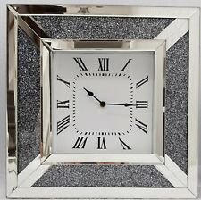Diamond Crush Dust Sparkly Silver Mirrored Square Wall Clock