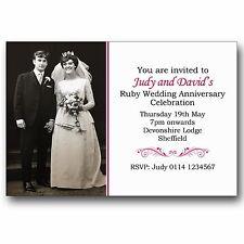 10 Personalised 40th Ruby Wedding Anniversary Photo Invitations M102
