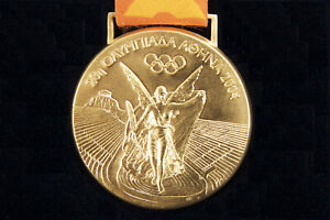 Athens 2004 Olympic Winner's Gold Medal with Multicolor Ribbon, Case and Diploma