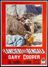 CINEMA-fotobusta I LANCIERI DEL BENGALA cooper,tone,cromwell,standing,HATHAWAY