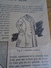 """PATRON ORIGINAL POUR LA POUPEE BLEUETTE """"MANTEAU D'HIVER NOVEMBRE 1910"""