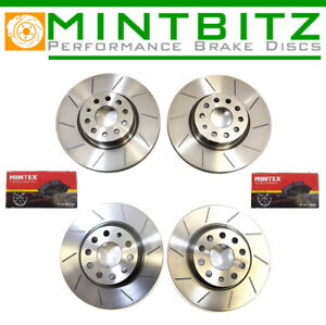 Ford Focus ST225 2.5 Front & Rear Grooved Brake Discs & Mintex Pads