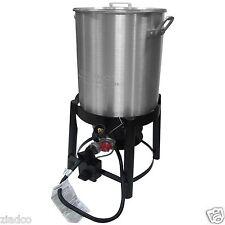 New 36 Quart Outdoor Turkey Fryer Deep Steamer & Food Boiler Pot Stand Burner