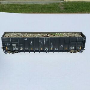 Custom Weathered Graffiti & Load HO Scale Construction Debris Gondola GDJX 1278