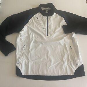 Footjoy FJ Dryjoys Select Mens Large White/Black 1/2 Zip Jacket Chest Zipper