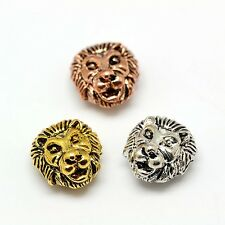 5pcs Mixed Color Tibetan Style Alloy Animal Lion Head Beads Findings 13x12x7mm