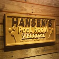 wpa0138 Name Personalized Pool Room Welcome Bar Wood Engraved Wooden Sign