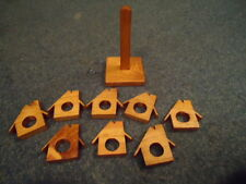8 Homemade House Shaped Wooden Napkin Rings with Their Own Holder