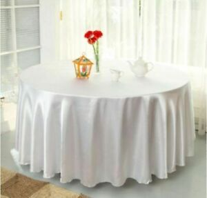 "57""-108""Round Satin Tablecloth Wedding Party Table Cover Cloth Banquet Decor"
