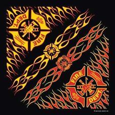 Fire Dept Black Red Yellow Cotton Bandana Scarf Handkerchief Hanky 22X22 Inch